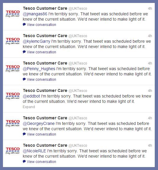 Tesco Twitter Apologies