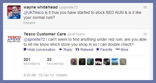 Tesco red Rum Tweet