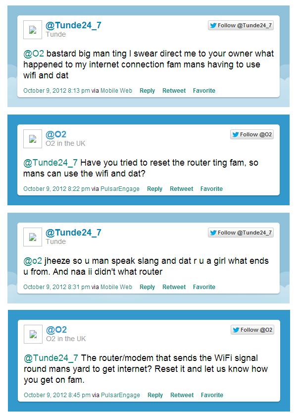 O2 Twitter Slang Response